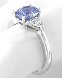 Past Present Future Engagement Ring with Ceylon Sapphire