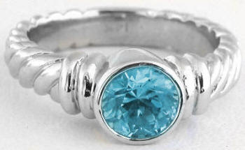 Bezel Set Blue Zircon Engagement Rings