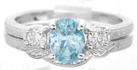 Vintage Three Stone Aquamarine Engagement Ring with Engraving and Matching Band