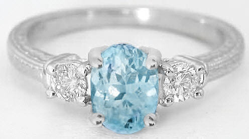Three Stone Aquamarine Ring With Engraving In 14k Gr 1105 Ws