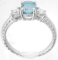 Antique Engraved Aquamarine Engagement Rings
