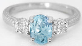 Aquamarine Three Stone Rings