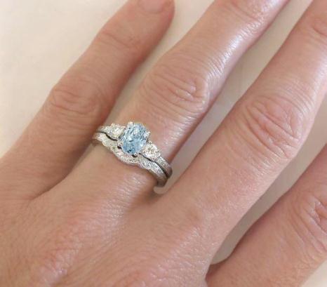 Aquamarine Engagement Ring with Three Stone Setting and No Diamonds