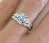 March Birthstone Engagement Ring and Wedding Band with Vintage Styling