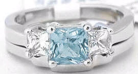 Aquamarine White Sapphire Three Stone Engagement Rings