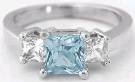 Aquamarine and White Sapphire Ring in 14k White Gold