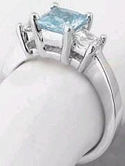 Princess Aquamarine White Sapphire Past Present Future Engagement Ring