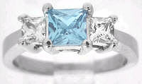 Princess Aquamarine White Sapphire Engagement Ring