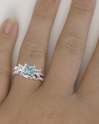 Princess Aquamarine White Sapphire Engagement Ring and Wedding Band