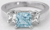 Princess Cut Aquamarine Three Stone Engagement Rings