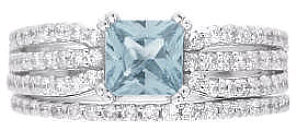 Princess Cut Aquamarine and Diamond Engagement Ring in 14k white gold
