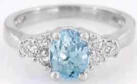 Aquamarine and Diamond Ring in 14k White Gold