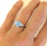 Aquamarine and Diamond Engagement Ring and Wedding Band in 14k Gold