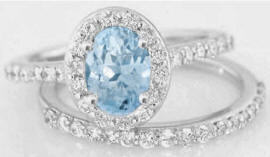 Aquamarine and Diamond Halo Engagement Ring with Wedding Band