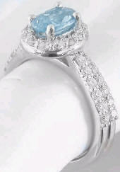 Aquamarine and Diamond Halo Engagement Ring and Wedding Band in 14k