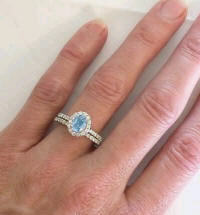 March Birthstone Aquamarine and Diamond Engagement Ring and Wedding Band
