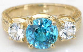 Impressive 3.54 ctw Blue Zircon and White Sapphire Ring in 14k yellow gold