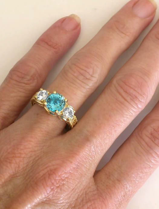 Three Stone Blue Zircon Rings With Engraving In 14k Yellow