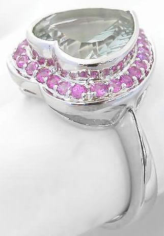 Heart Green Amethyst And Pink Sapphire Halo Ring In 14k