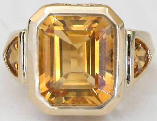 One Of A Kind Citrine Rings Emerald Cut