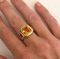 One of a Kind Bezel Set Citrine Rings