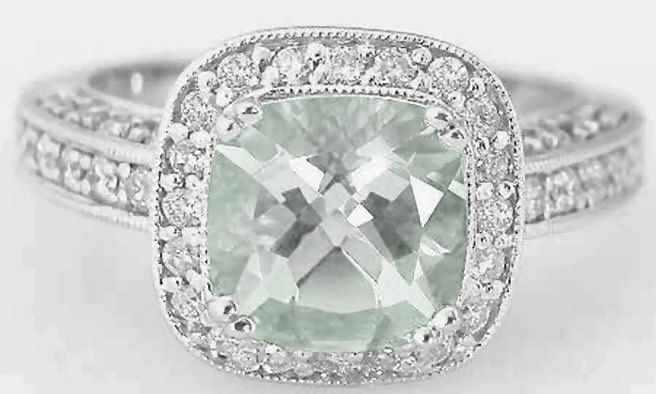 Engagement Ring Green Amethyst