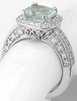 Cushion Cut Prasiolite Diamond Engagement Ring With Halo