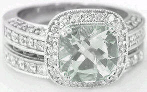 Cushion Cut Green Amethyst Engagement Rings