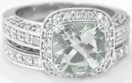 Cushion Cut Green Amethyst Diamond Engagement Ring With
