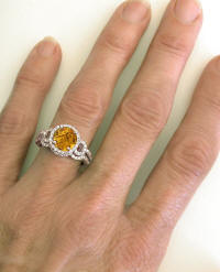 Citrine Engagement Ring and Wedding Band on the hand