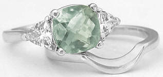 Green Amethyst Cushion and White Sapphire Engagement Rings
