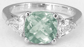 Green Amethyst White Sapphire Rings