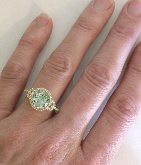 Round Prasiolite And Diamond Ring Gr 2118