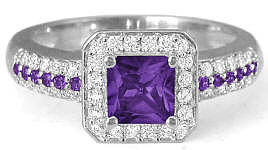 Princess Cut Amethyst and Diamond Ring in 14k white gold