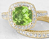 Cushion Peridot Ring and Matching Band in 14k Gold