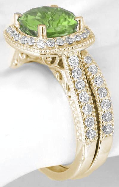 Cushion Cut Peridot Engagement Ring And Matching Diamond