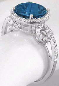 London Blue Topaz and Diamond Halo Engagement Ring