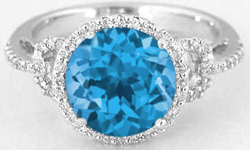 Diamond Halo Ring With 8mm Round Swiss Blue Topaz In 14k