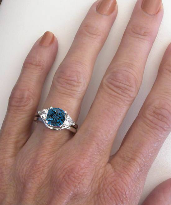 Cushion Cut London Blue Topaz And Trillion White Sapphire
