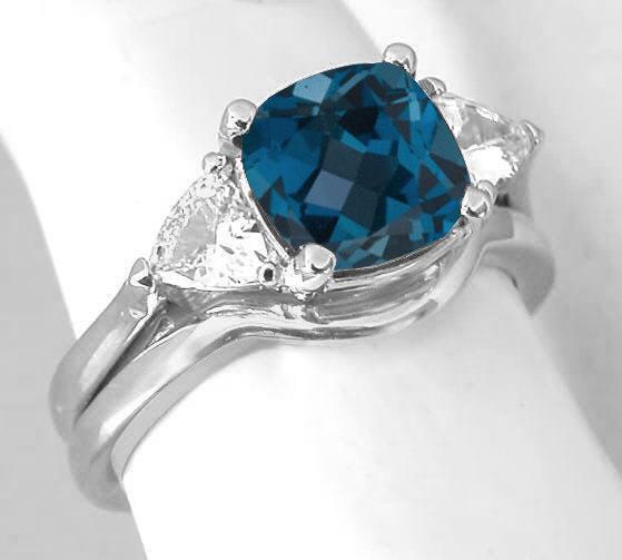 Excellent Cushion Cut London Blue Topaz and Trillion White Sapphire Three  WB54