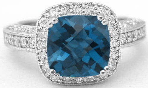 3 22 Ctw Cushion Cut London Blue Topaz And Diamond Ring In 14k White Gold