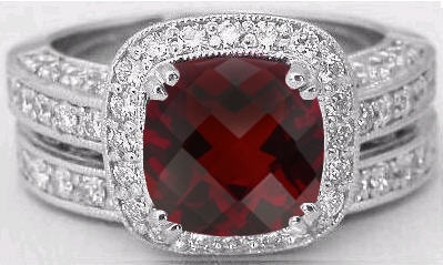 Cushion Cut Garnet Diamond Engagement Ring With Vintage Style