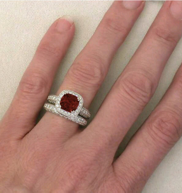 cushion cut garnet diamond engagement rings