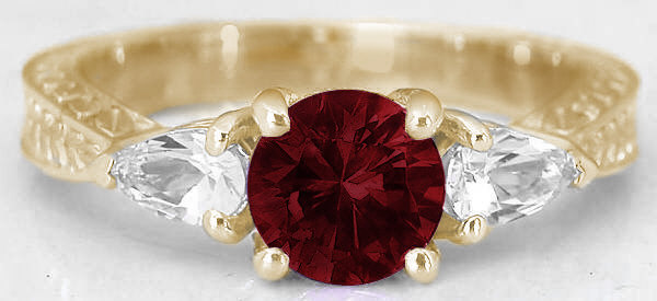 fcde32c8e68a7 1.53 ctw Garnet and Pear White Sapphire Ring in 14k yellow gold