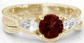 Garnet Past Present Future Engagement Rings in 14k
