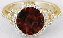 8mm Round Garnet and Diamond Halo Engagement Ring in 14k Yellow Gold