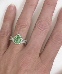 Pear Shape Seafoam Green Tourmaline and Diamond Engagement Rings