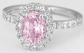 1.84 ctw Light Pink Sapphire and Diamond Ring in 14k white gold