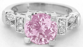 Round Light Pink Sapphire Diamond Ring