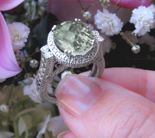 Green Amethyst Ring Green Quartz Ring Size 7-9 Prince Cut Green Amethyst Ring Green Quartz Ring 7-9 Prasiolite Ring